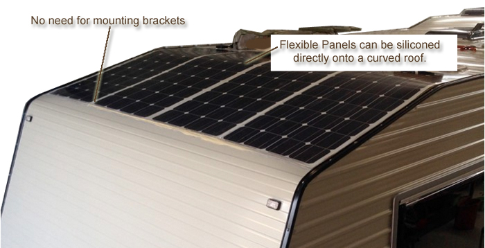 Caravansplus complete guide to installing solar panels above for mobile applications the semi flexible panels offer some advantages but generally at a more expensive price portable solar sciox Image collections