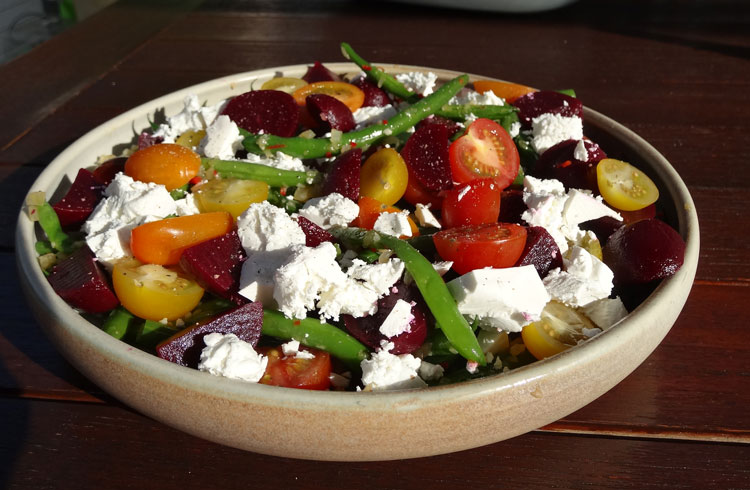 Green Bean, Beetroot & Goat Cheese Salad