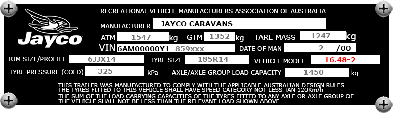 Example Jayco Westport Compliance Plate