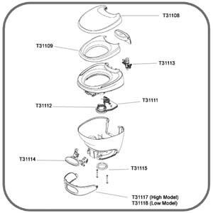 31111: Mechanism Assembly - Suit Thetford Bravura Toilets