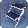 Supex Folding Double Step - Aluminium - 380mm high
