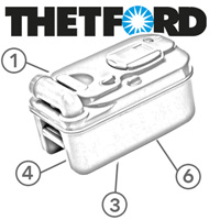 Spare Parts Diagram - Thetford C200 Cassette Toilet - Holding Tank With Wheels