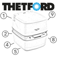 Spare Parts Diagram - Thetford Porta Potti Qube 335 / 345 / 365 - Portable Toilet