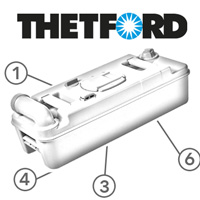 Spare Parts Diagram - Thetford C2 Cassette Toilet - Holding Tank With Wheels