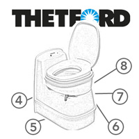 Spare Parts Diagram - Thetford C200 S / C200 CS Cassette Toilet
