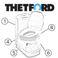 Spare Parts Diagram - Thetford C224 CW Cassette Toilet