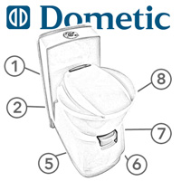 Spare Parts Diagram - Dometic CTS-4110 / CTS-3110 Cassette Toilet
