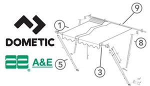 Show All Dometic AE Awning Diagrams