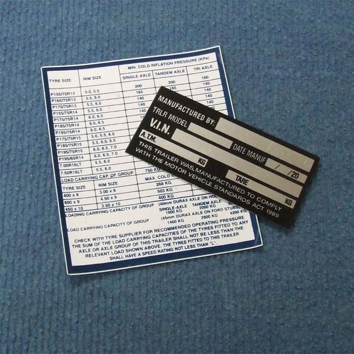 CaravansPlus: Box Trailer I.D. Plate (Vin Plate) | Labels | RV &