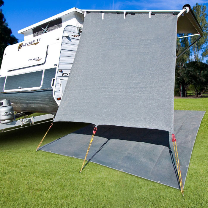 CGear Caravan End wall, 90% Shade, 2.1m wide, Sloped Top, Grey