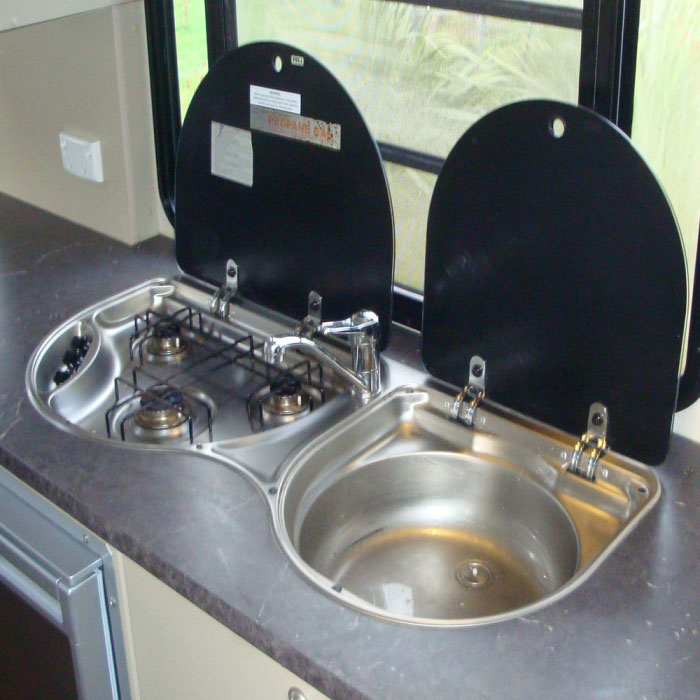 SMEV 3 Burner Stove &amp Sink Combo  No Tap 970w 430d - Air In Kitchen Faucet