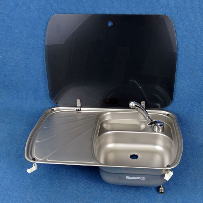Sink, Stainless, 600 x 445mm, CRAMER, Glass Lid And Cold Tap