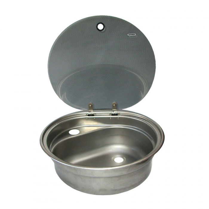 Cramer Stainless Steel Sink With Glass Lid, Cold Folding Tap, 407mm Diameter