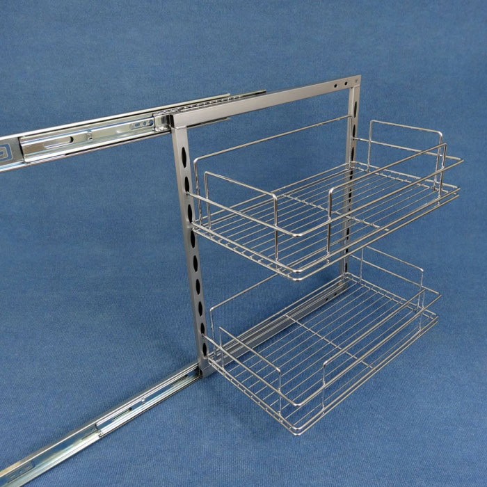 2 x Slide Out Pantry, 260mm Plus 6 Baskets