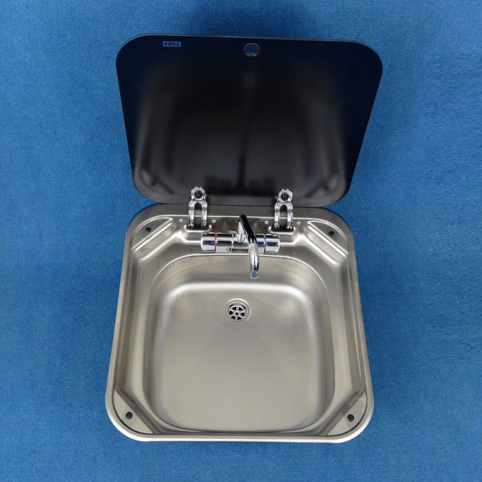 Smev Stainless Steel Sink With Folding Mixer And Glass Lid