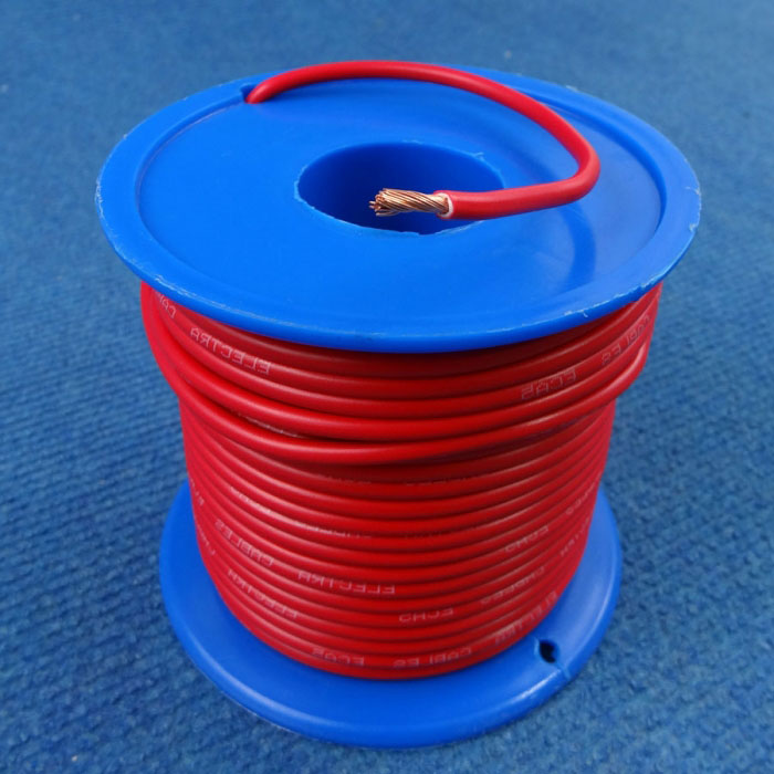 Auto Wire 6mm Single Core, 50amp, Red, 30m Roll