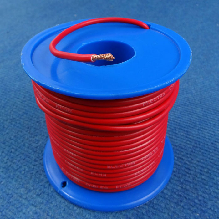 Auto Wire 5mm, 25amp Single Core, Red, 30m Roll