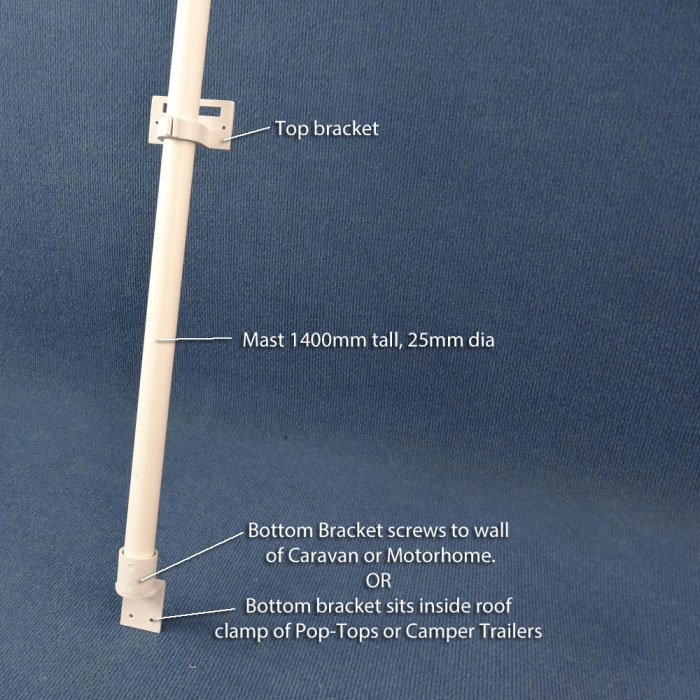 HAPPY WANDERER Multi Fit Bracket and Mast - 1400mm Mast  (25mm Dia)