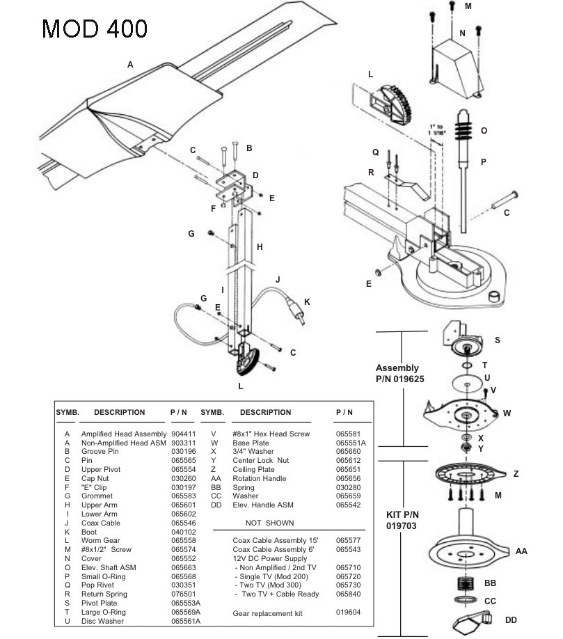 caravansplus  spare parts diagram - antennatek signal commander 400