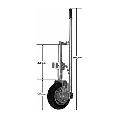 MANUTEC EasyMover Single Solid Wheel - Ratchet Jockey Wheel with Clamp