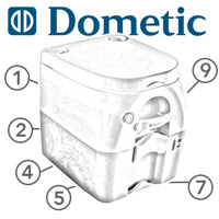 Spare Parts Diagram - Dometic Sanipottie 972 / 976 - Portable Toilet