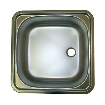 Smev Sink/Basin Stainless Steel, 380mm x 380mm, Concealed Fixing, Plug & Waste