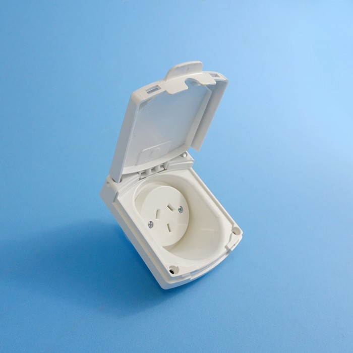 Clipsal Power Outlet, 10amp, Weatherproof Lid, WHITE