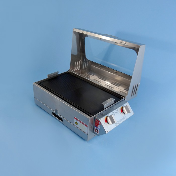 Sizzler Deluxe 2 0 Gas BBQ, Stainless Steel, 255h x 530w x 300d