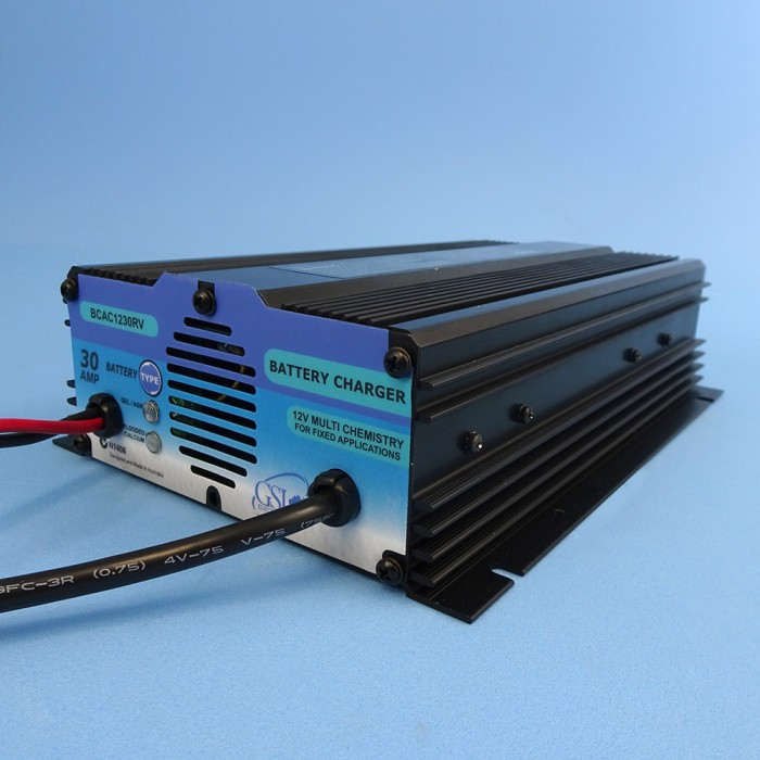 GSL Fixed Connection Automatic Battery Charger, 12V, 30amp