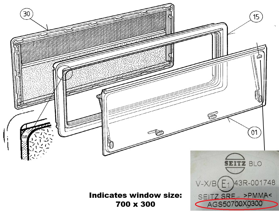 Spare Parts Diagram - Dometic S4 Window - Frames & Glazing