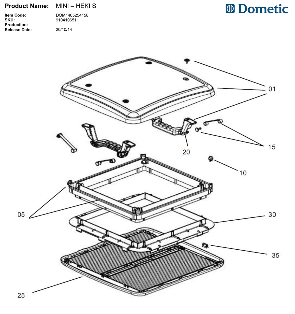 Spare Parts Diagram - Seitz Mini-Heiki S Roof Hatch