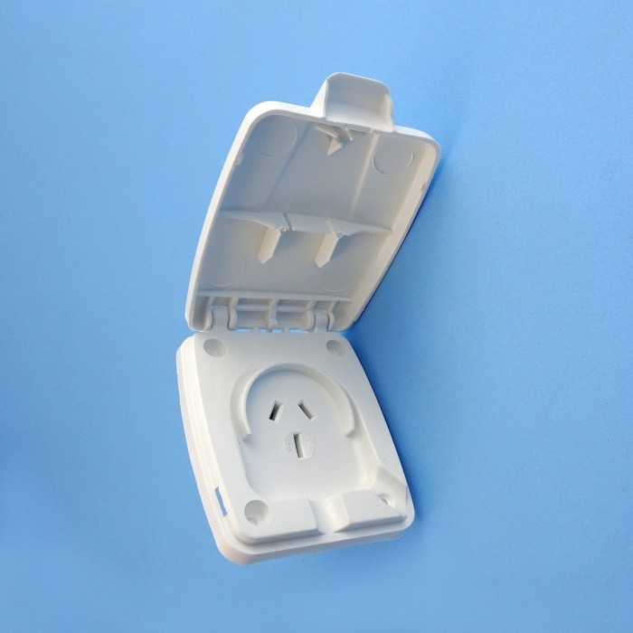 Clipsal Power Outlets, 15amp, Weatherproof lid, pre-2006, WHITE