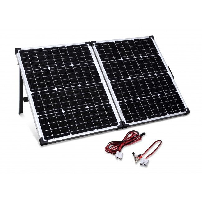 Camec 100W Folding Solar Panel Kit - Controller(15A) Cables & Carry Bag