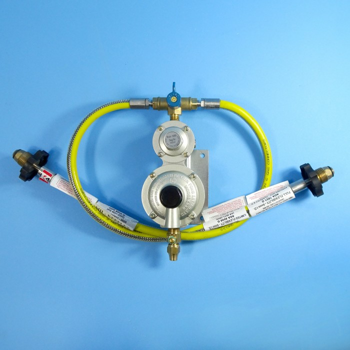 Two Stage Regulator Kit, 2 Cylinders, 600mm S-Core Hoses with Handwheel, Test Point to 5/16 inch Pipe