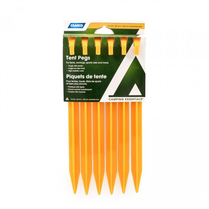 Camco 12 Inch Tent Pegs - Pack of 6. 51043