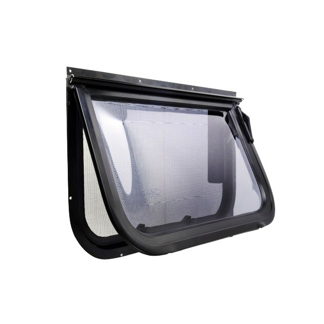 Camec Odyssey Single Windout Window, Tinted acrylic, Black frame, 508x1524mm