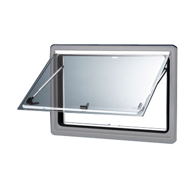 Seitz S4 Double Glazed Window With Screen & Blind - Silver Frame - 900 x 500mm