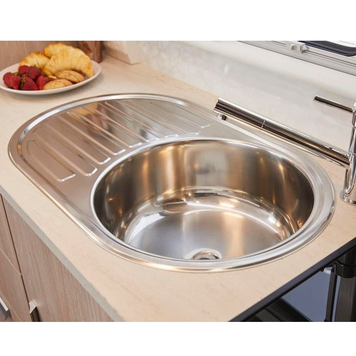 Jayco Stainless Steel Sink - Round Basin & Drainer - 720mm x 440mm