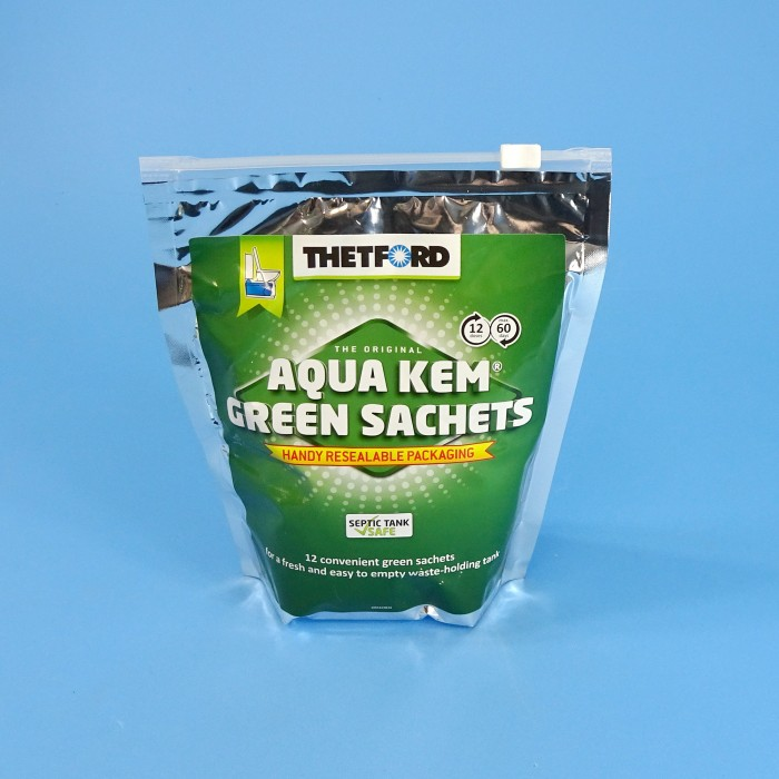 Thetford Aqua Kem Green Sachets - Waste Cassette Drop-In - 12 Sachets - Septic Safe