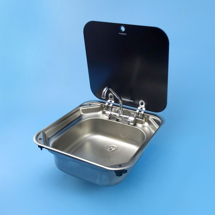 Smev Stainless Sink with Glass Lid - Mixer Folding Tap - 420 x 440mm
