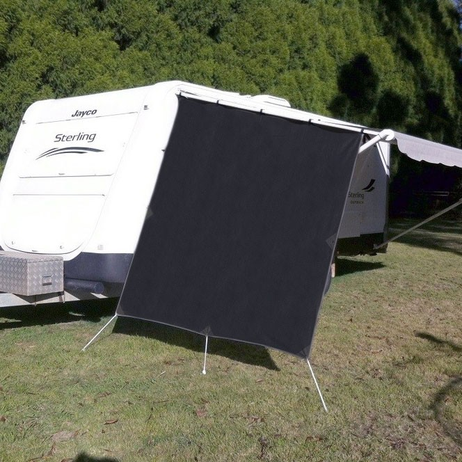 Supex End Wall Screen - Suit Caravans - Black - Pegs & Ropes