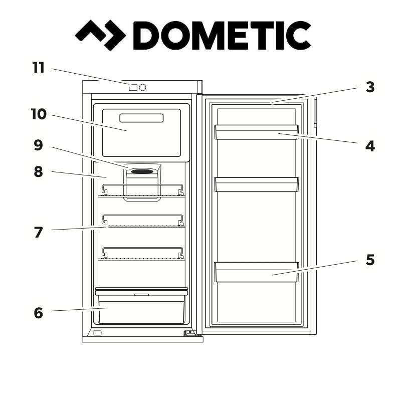 Spare Parts Diagram - Dometic RUA5208X Fridge